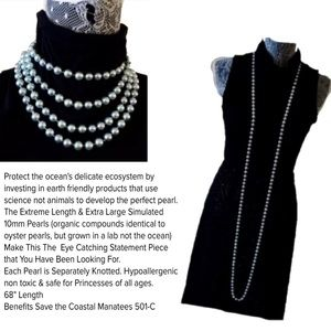 """68"""" Long Blue or Pink Pearl Necklace"""